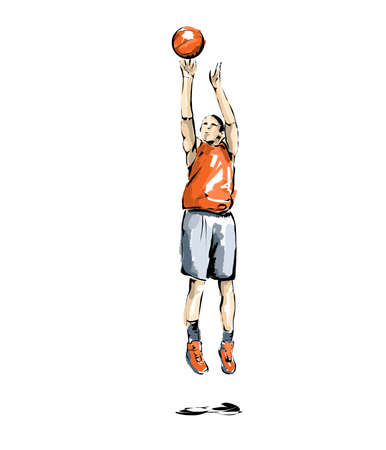pentathlon: basketball illustration, man practicing basketball Stock Photo