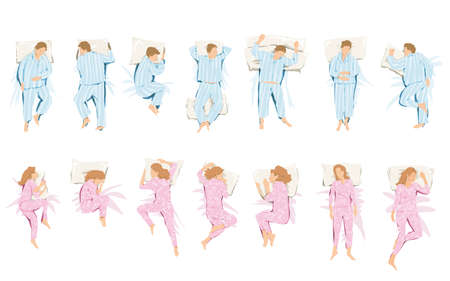 woman sleep: That illustration of different positions they take in sleep and dream