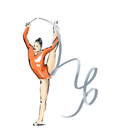 gymnasts: rhythmic gymnastics illustration during an exhibition