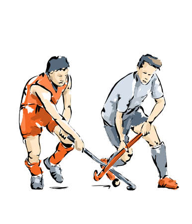 hockey players: Illustration of Hockey players During a competition Stock Photo