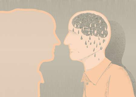 alzheimer s disease: sick of alzheimer illustration and memory loss Stock Photo