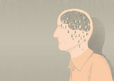 sick of alzheimer illustration and memory loss Stock Photo