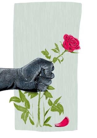 Ilustración de la mano que rompe una rosa como símbolo de la violencia contra las mujeres Foto de archivo