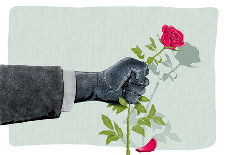 illustration of Hand That breaks a rose as a symbol of violence against women Stock Photo