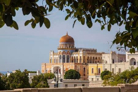 Santa Cesarea Terme in the provinces of Lecce in Salento, Puglia - Italy, with a view of the sea and the famous Palazzo Sticchi