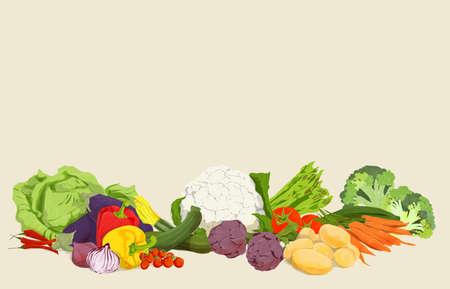 Illustration of vegetarian vegan food and vegetables