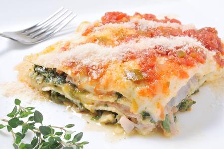 lasagna: Parte de la lasa�a servido en un plato