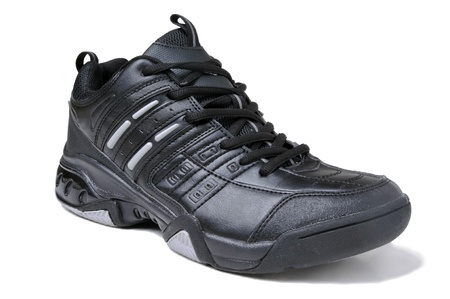 Black sport shoe on white background. photo