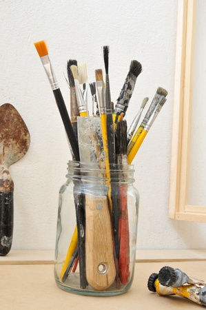 Brushes in the painter studio.