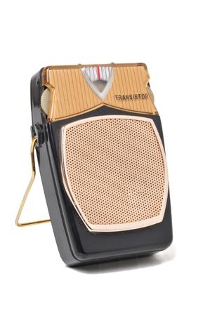 transistor: Antique transistor radio isolated on white background
