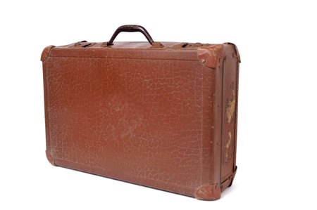 antique suitcase: Antique suitcase isolated on white background  Stock Photo