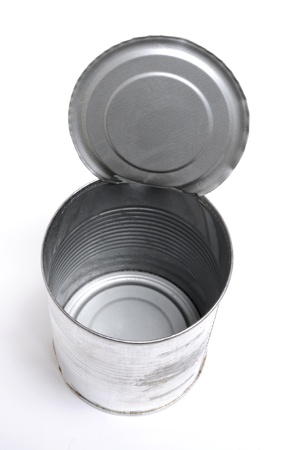 Opened can on white background