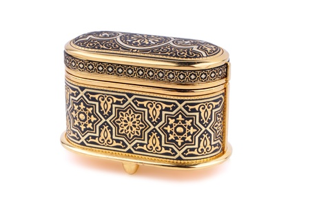 Jewelry box made of gold with moroccan design  Stock Photo