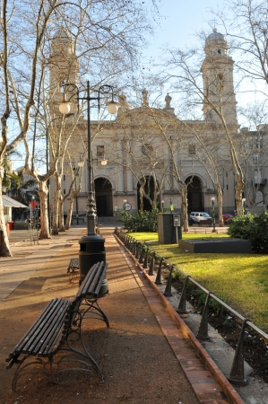 Square and cathedral in Montevideo, Uruguay