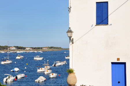 Typical house of Cadaques, with mediterranean sea on background. Stock Photo