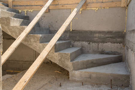 Concrete stairs in building house