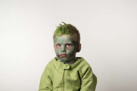 dressed: Little boy dressed as zombie on Halloween Stock Photo