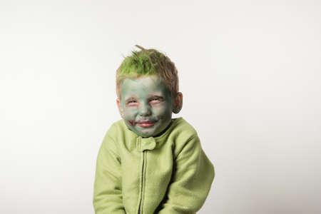 hallowen: Tricky little boy dressed as zombie on Hallowen