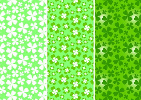 Clovers - seamless patterns for spring season