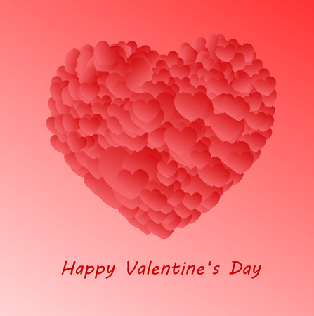 Happy Valentine`s day, big heart made of small shaded hearts on a pink background with a place for text. Ilustração