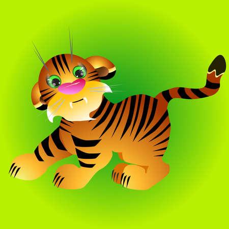 tigre cachorro: Ilustración de cachorro de tigre juguetón. Vectores