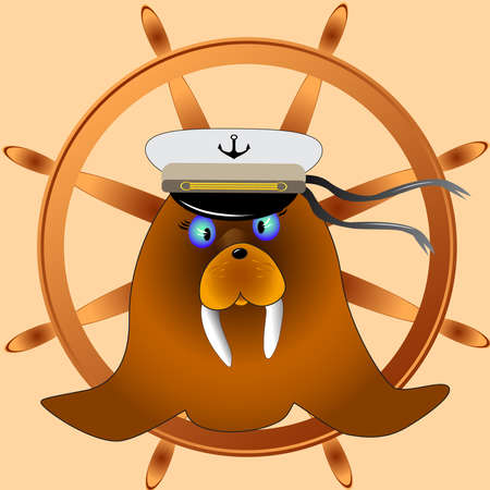 funny travel: Funny captain walrus is ready to travel. Simple cartoon captain walrus blows bubbles through the tube