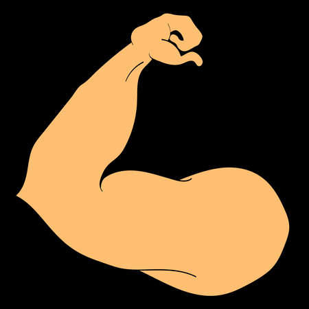 jacked: Flex arm bodybuilder with big muscles icon.