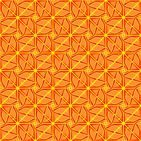 interlock: Abstract geometric seamless pattern in yellow, orange and red colors. Illustration