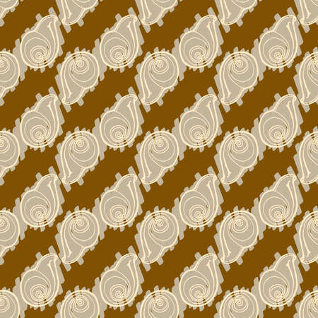 Doodles seashells background seamless pattern on brown background.