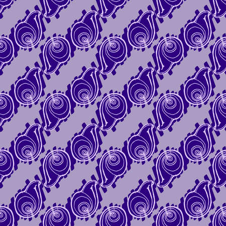 Doodles seashells background seamless pattern on lillac background.