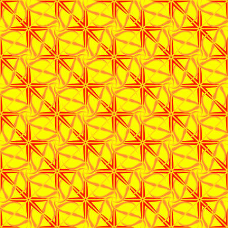 Abstract geometric seamless pattern in yellow, orange and red colors. Illustration