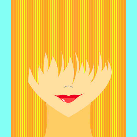 obscure: Stylized girl with face covered long bangs. Noface woman.