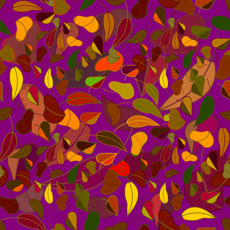 blushing: Beautiful violet color autumn leaf fall seamless pattern. Illustration