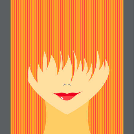 Stylized girl with face covered long bangs. Noface woman.