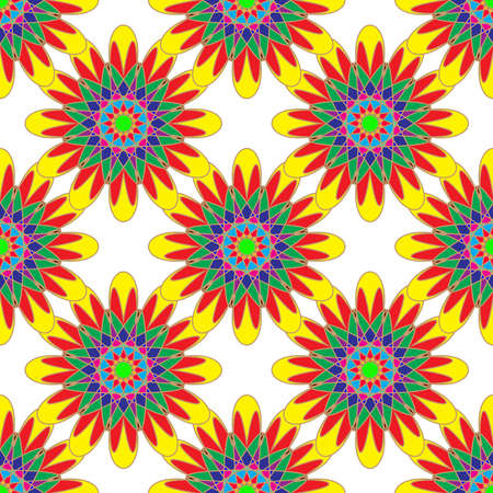 Geometric seamless pattern with fractal flower in yellow red and green colors on white background. Illustration