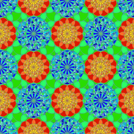 zircon: Multicolor faceted fractal diamond seamless pattern on green background.