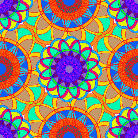 kaleidoscopic: Geometric multicolor fractal mandala seamless pattern for background. Illustration