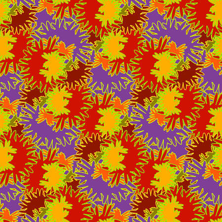 ashberry: Autumn bright colors leaves carved seamless pattern for background or design work. Illustration