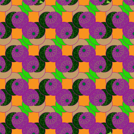 lilas: Geometric seamless pattern with fractal flower in green and violet colors on deep orange background.