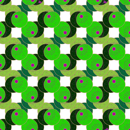 Geometric seamless pattern with fractal flower on green leaves and white background. Illustration