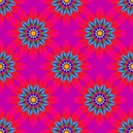 girlish: Fractal mandala seamless pattern on pink leaves background.