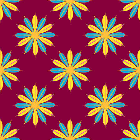 secession: Geometric seamless pattern with fractal flower in yellow and blue colors on magenta red background