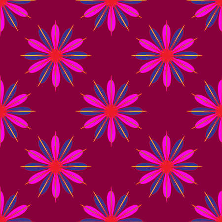 violet red: Geometric seamless pattern with fractal flower in pink and violet colors on magenta red background