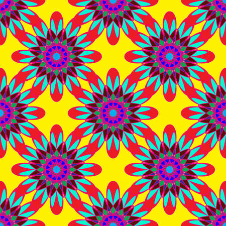 violet red: Geometric seamless pattern with fractal flower in red blue and violet colors on yellow background.