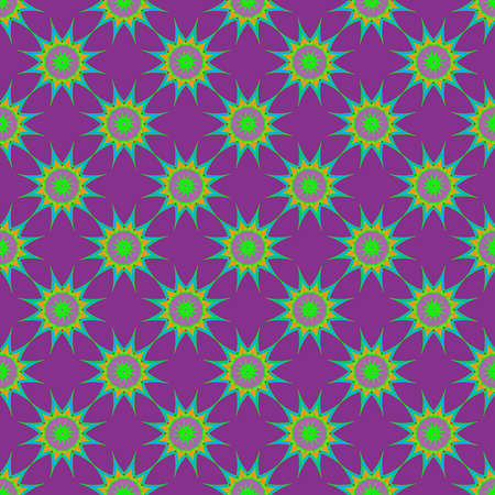 nineties: Abstract seamless pattern with fractal star on violet background.