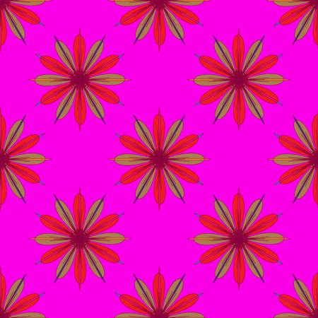 fractal pink: Fractal flower seamless pattern on pink background. Illustration
