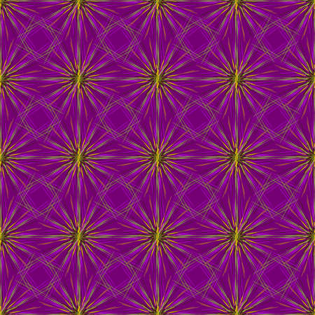 distinct: Abstract seamless pattern with multibeam furry fractal star on a dark violet background.
