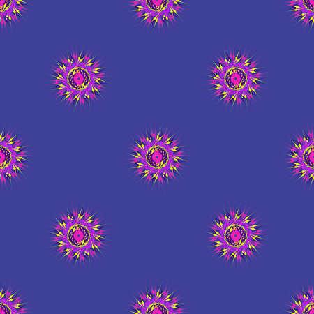 deep purple: Abstract seamless pattern with bright multibeam fractal mandala on a deep purple background