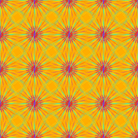 Abstract seamless pattern with multibeam furry fractal star on a orange background.