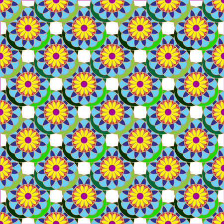 Geometric seamless pattern with fractal flower in yellow, green and blue colors on white background. Illustration